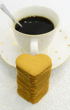 Free Heart Cookies And Cup Of Coffee... Royalty Free Stock Photography - 27461987