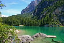 Lake Of Braies In Dolomite Stock Photo