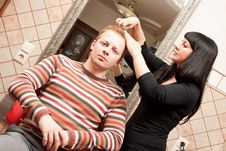 Free Man In A Hairdressing Salon Royalty Free Stock Image - 27462736
