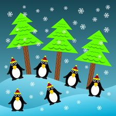 Free Christmas Penguins Royalty Free Stock Photography - 27464707