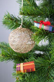 Christmas Golden Ball On The Tree Stock Photos