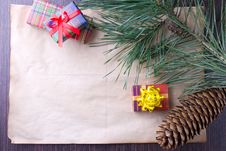 Free Christmas Card With Gifts And Tree Stock Photography - 27464812