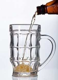 Beer Pouring Into Beer Mug Isolated Stock Photos