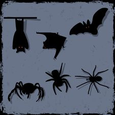 Free Spiders And Bats Royalty Free Stock Photo - 27469405
