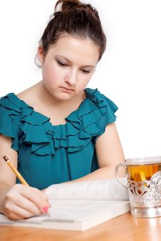 Portrait Of A Cute Student Studying Royalty Free Stock Photo