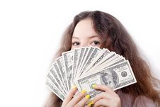 Free Portrait Of A Pretty Brunette Girl With Money Royalty Free Stock Image - 27469906