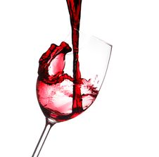 Free Red Wine Splashing In A Glass, Isolated On White Stock Images - 27469974