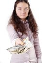 Free Portrait Of A Pretty Brunette Girl Giving Money Royalty Free Stock Image - 27470046