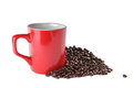 Free Square Red Ceramic Cup And Coffee Beans Over White Stock Photo - 27471200