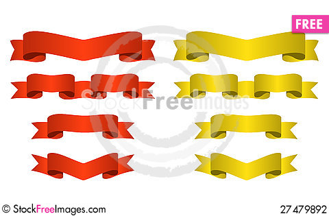 Free Red And Golden Banners Stock Photography - 27479892