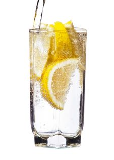 Free Full Glass Of Water With Lemon Isolated Royalty Free Stock Photo - 27470055