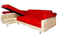 Free Very Nice Red Sofa Isolated On White Stock Images - 27470214
