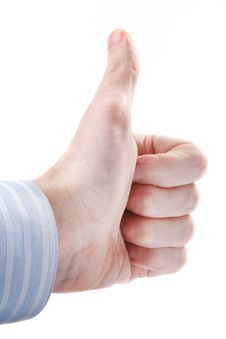 Male Hand Showing Thumbs Up Or Ok Sign On White Stock Photography