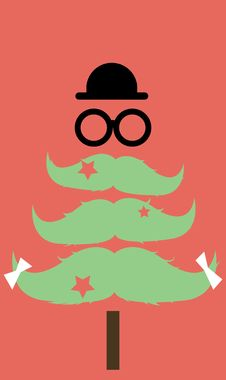 Free Moustaches Christmas Tree Royalty Free Stock Photography - 27473337