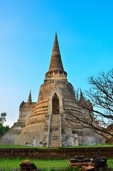 Pagoda Of Ayuthaya Temple Royalty Free Stock Image