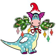 Free Cartoon Christmas Dragon Stock Photos - 27476543