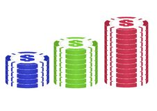 Casino Chips Set &x28; Red, Green,blue&x29;. Royalty Free Stock Image