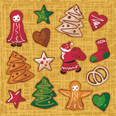 Christmas Gingerbread Cookies Set Royalty Free Stock Photography