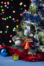 Free Decorated Christmas Tree,the  Bell On A Black Royalty Free Stock Image - 27489726