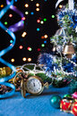 Free Watch, Toys,a Decorated  Tree,on A Black Stock Photos - 27489733