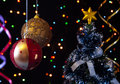 Free Two Christmas  Ball, Serpentine, Tree  On A Black Stock Photo - 27489740