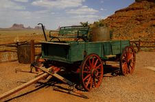 Old Wagon At Monument Valley, Utah, USA Stock Photos