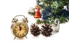 Free Clock,bumps , Decorated Christmas Tree Stock Photo - 27489720