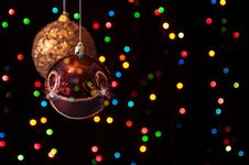 Free Two Christmas Globe Hanging In The Black Royalty Free Stock Photo - 27489735