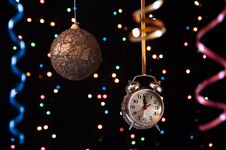 Free Clock,serpentine,Christmas Ball On A Black Royalty Free Stock Photography - 27489797