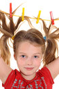 Free Girl With Paperclips In Hair Stock Photography - 27490432