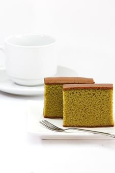 Free Sponge Cake, Green Tea Royalty Free Stock Images - 27490149