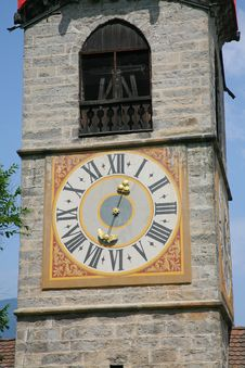 Free Tower Clock In Church Of Santa Katerina, Brunico Royalty Free Stock Photo - 27494465
