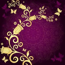Vintage Gold-violet Frame Royalty Free Stock Photos