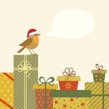Gifts And Robin Royalty Free Stock Image