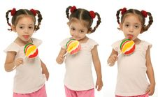 Toddler Holding A Lollipop Wit Stock Photography