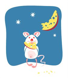 Free Mouse And Moon Royalty Free Stock Image - 2751846