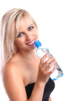 Free Blond With Bottle Stock Image - 2753151