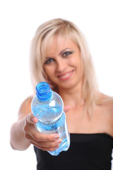 Blond With Bottle Royalty Free Stock Photo