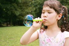 Free Girl Blowing Bubble Royalty Free Stock Image - 2755556