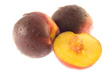 Free Two Half Ripe Peaches (isolate Royalty Free Stock Photos - 2759938