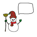 Free Cartoon Snowman Hand Drawn Royalty Free Stock Image - 27503576
