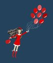 Free Santa Girl With Balloons Royalty Free Stock Images - 27509349