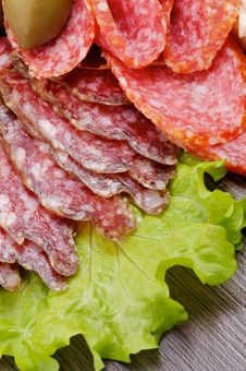 Slices Of Salami And Smoked Sausage Royalty Free Stock Photography