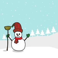 Cartoon Snowman Hand Drawn Royalty Free Stock Images