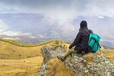 Mountain Climber Resting Royalty Free Stock Image