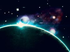 Free Colorful Nebula And Abstract Planet Stock Photo - 27504550