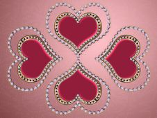 Four Hearts Of Pearls Stock Images