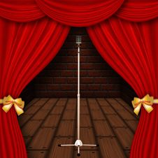 Free Stage With Red Curtains Royalty Free Stock Photography - 27504657