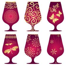 Free Set Of Purple Christmas Glasses Stock Photos - 27510083