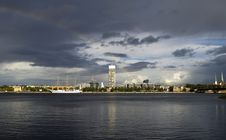 Yacht At Marine Port Of Riga, Latvia Royalty Free Stock Images